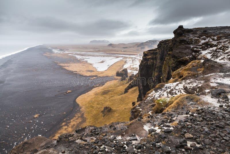 Black sands beach landscape, Iceland stock images