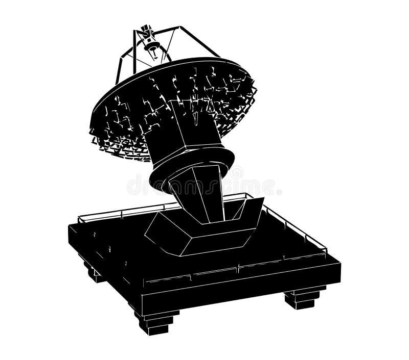 Black satellite dish vector illustration