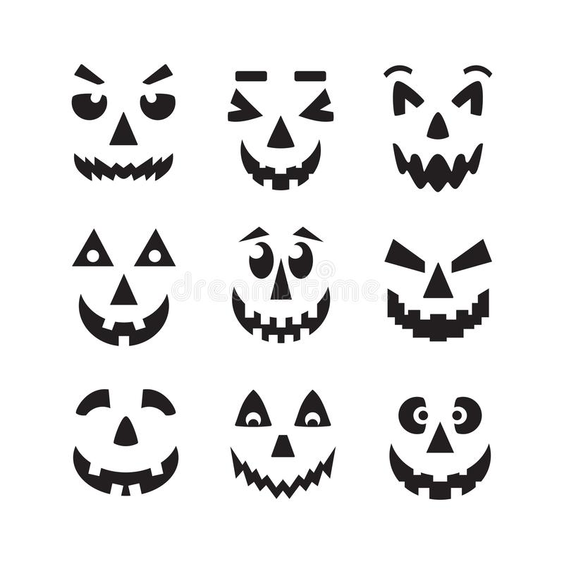 Black scary, cool and funny isolated Halloween pumpkin faces icons set on white stock illustration