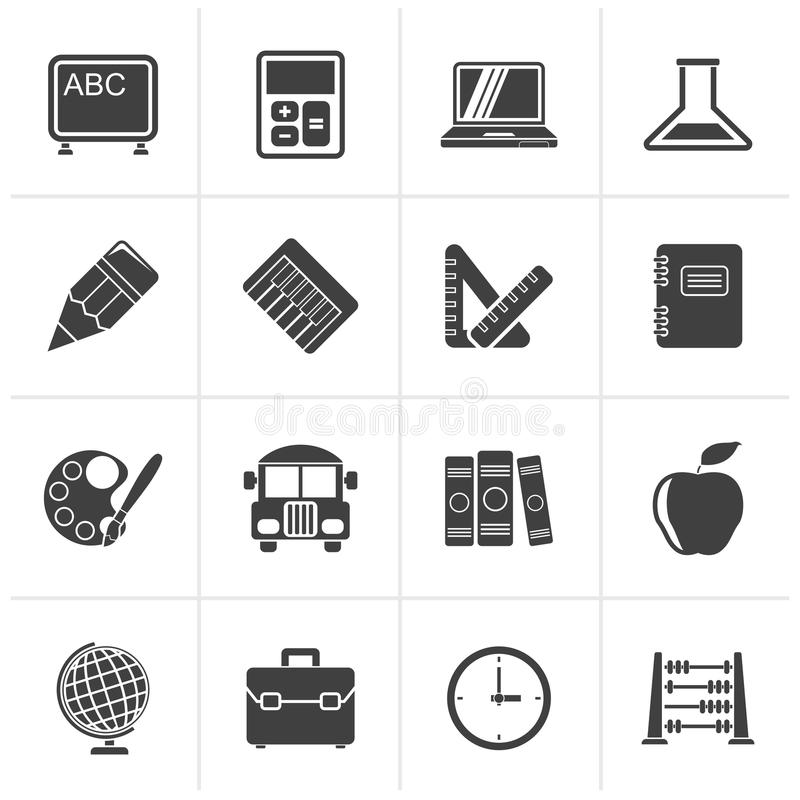 Black School and education icons stock illustration