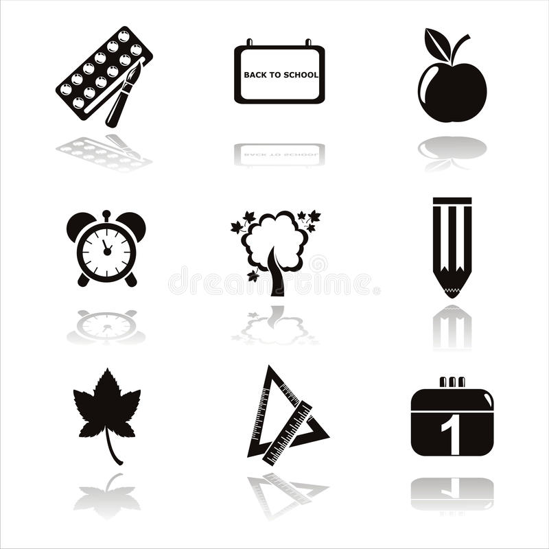 Free Black School Icons Stock Image - 20458561