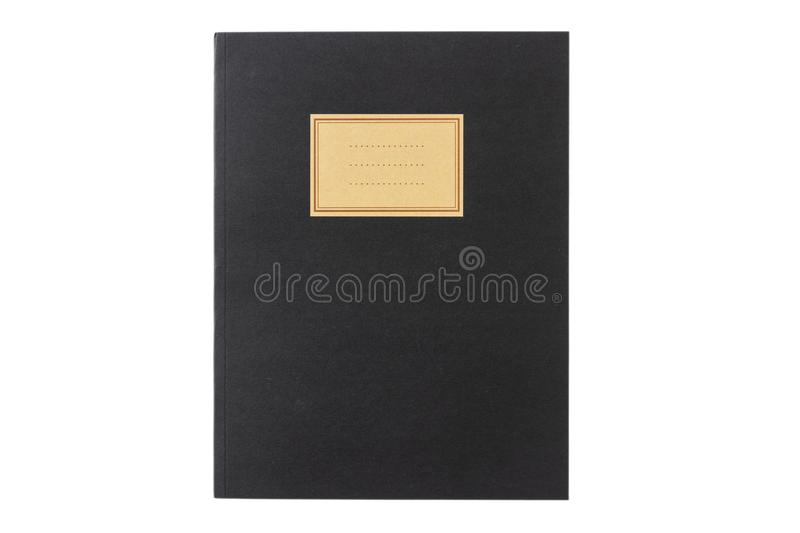 School notebook old fashioned isolated on white background, blank label, copy space, top view. Black school notebook or diary, old fashioned, isolated on white stock photography