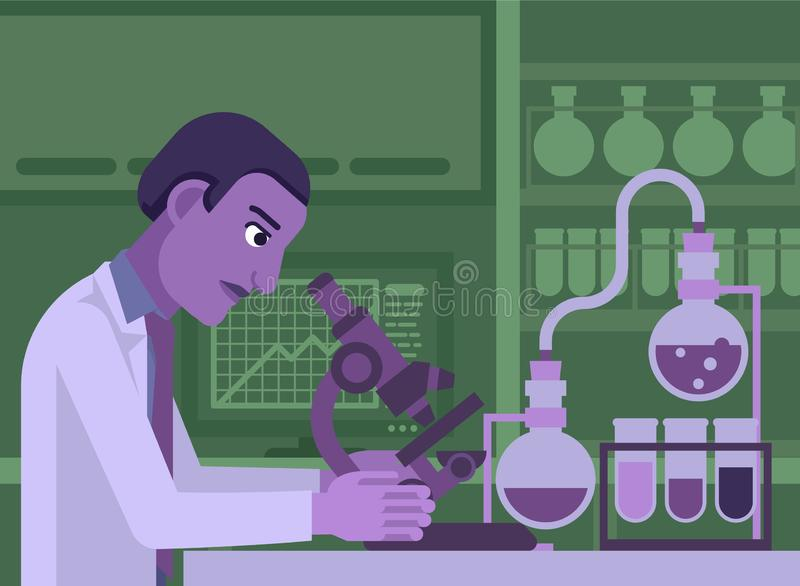 Black Scientist Working In Laboratory. A black scientist working in a scientific laboratory with microscope and other science lab equipmentr stock illustration