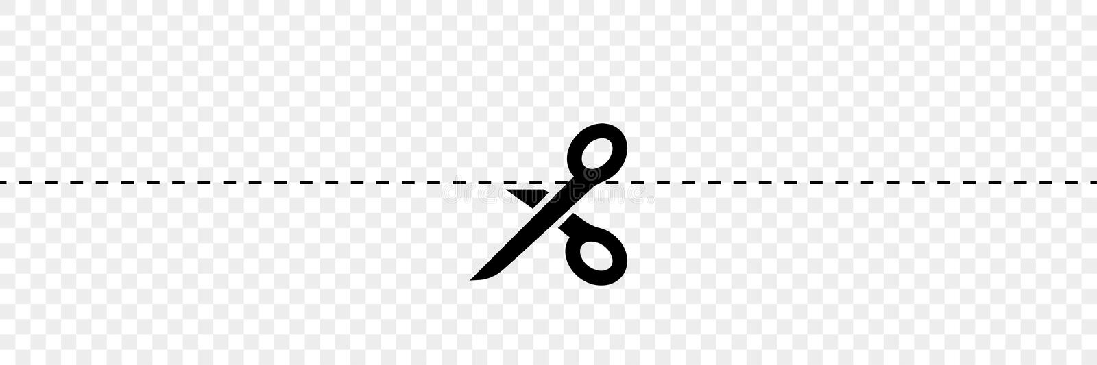 Black scissors vectors with cut lines. On transparent background. Vector icon for web design vector illustration
