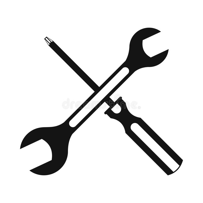 Black screwdriver and spanner flat icon. Isolated on a white background vector illustration