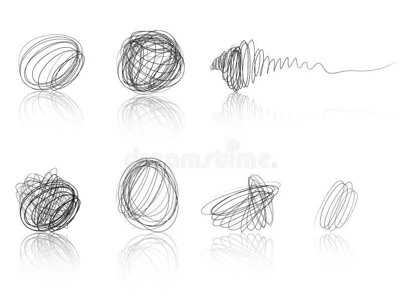 Black scribble balls - thread tufts royalty free illustration