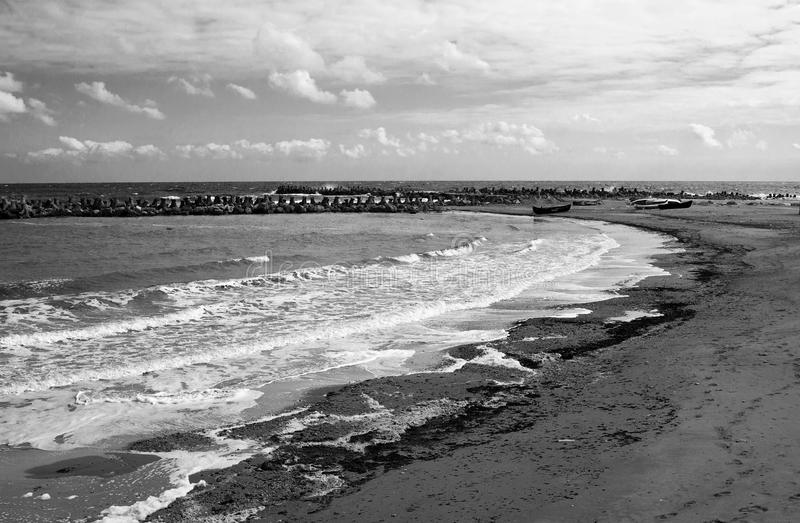Black Sea beach at Eforie stock image