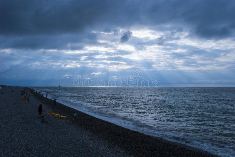 Black Sea from Batumi, Georgia stock image