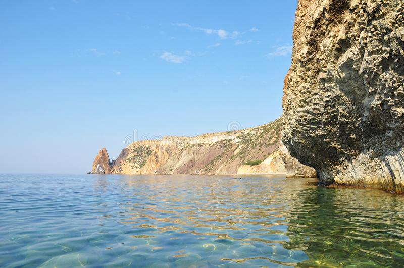 Black Sea at cape Phiolent. Crimea, Ukraine. Jasper beach and Ca stock photo