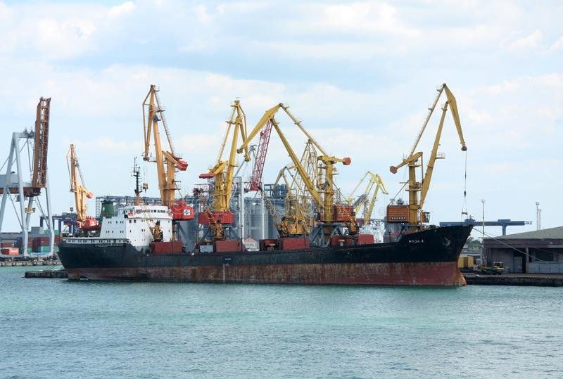 Black sea cargo port in Odessa, Ukraine royalty free stock photos