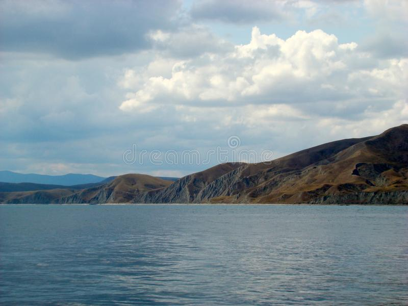 Black Sea coast in Crimea.Kara Dag Mountain. Sea landscape royalty free stock images