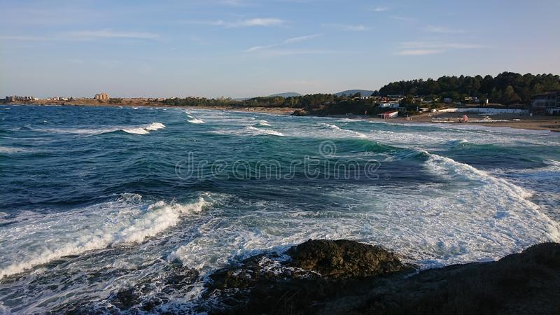 Black sea and its waves at the end of the summer stock image
