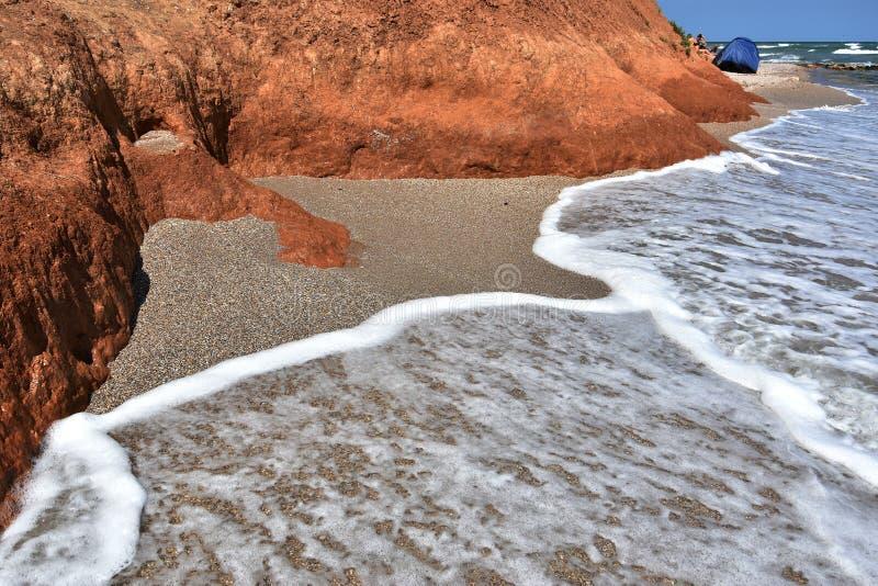 Black Sea kust på den Vama Veche stranden arkivfoton