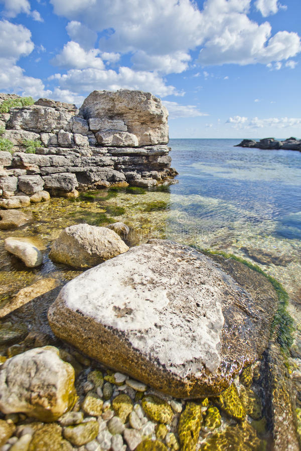 Black sea landscape. Clear water at Cape Tarhankut. Crimea. stock image