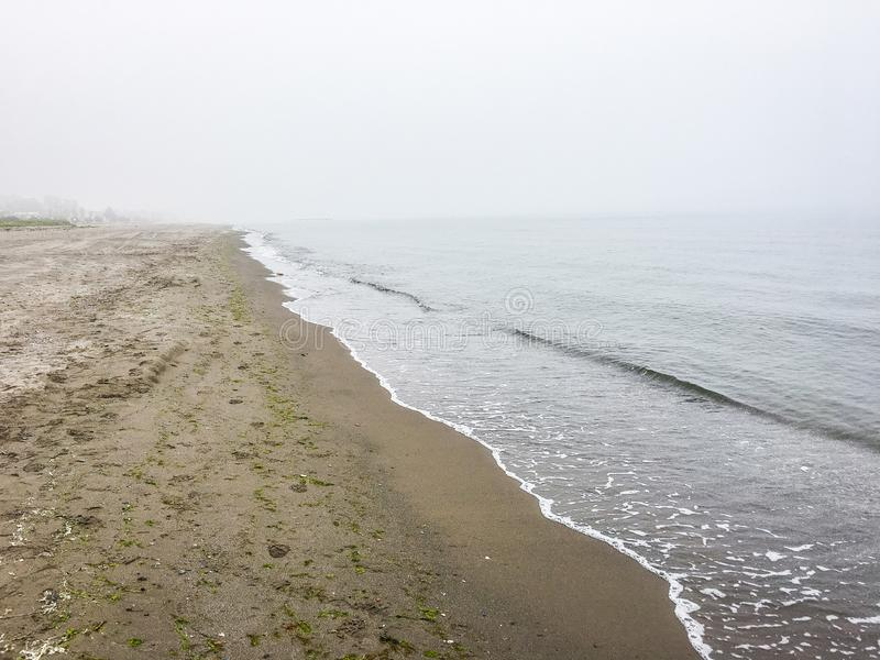 Black Sea in morning fog in Samsun, Turkey. Asia stock photography