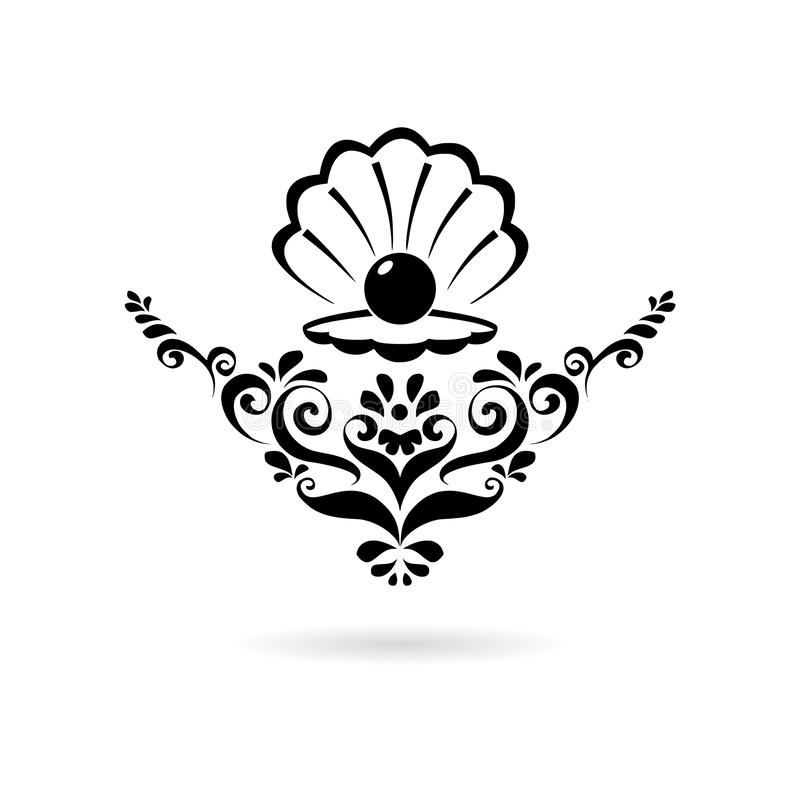 Black Sea Pearl in open shell, floral ornament icon or logo. On white vector illustration
