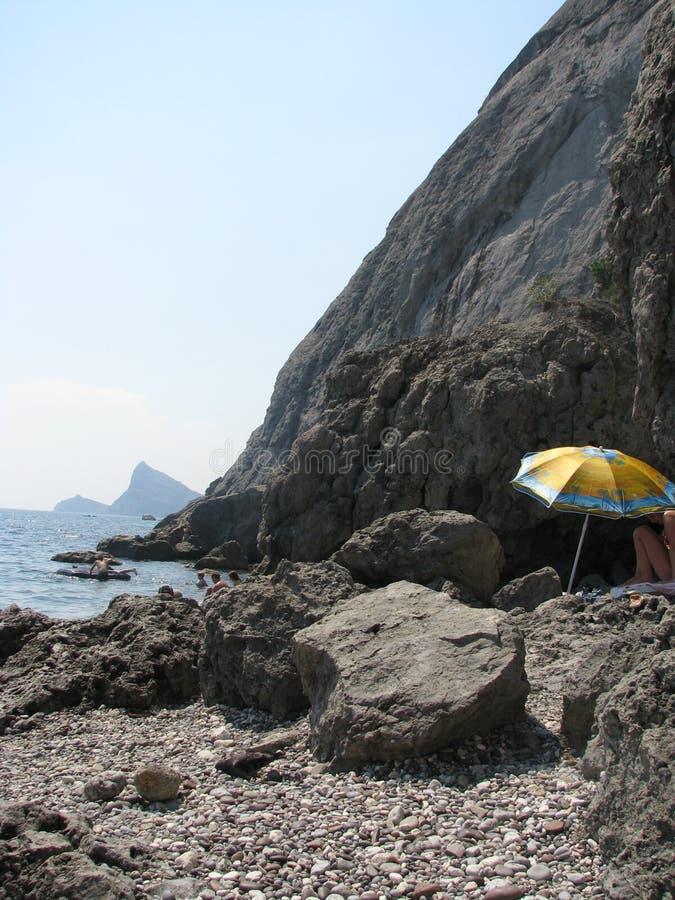 Black Sea Pebbly Beach Stock Photo