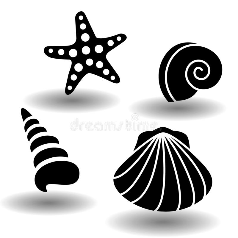 Black sea shells icon set, collection of seashell, clam, nautilus snail, spiral shell and starfish. Vector eps10. Illustration isolated on white background with vector illustration