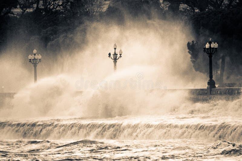 Black Sea storm crimea ukraine yalta royaltyfri bild