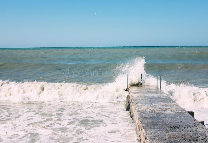Black sea during storm, Sochi, Russia, nature background. The Black sea during storm, Sochi, Russia, the nature background royalty free stock photo