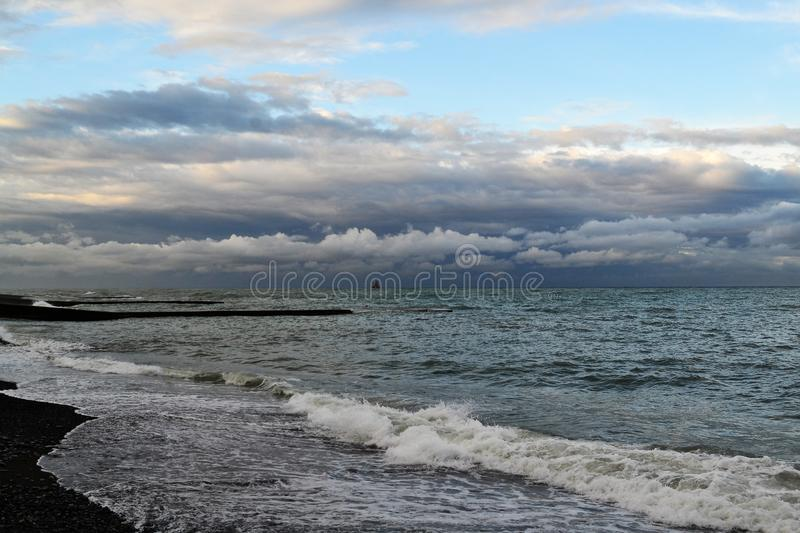 Black sea before the storm. In Sochi. The view from the Central beach and the beacon royalty free stock photo