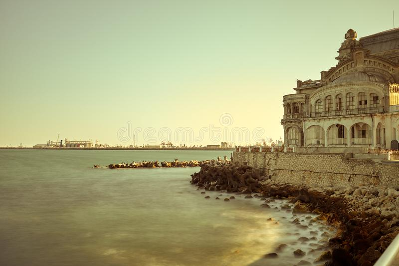 Seafront Constanta Romania. The Black Sea at sunset, seafront Constanta, Romania royalty free stock image
