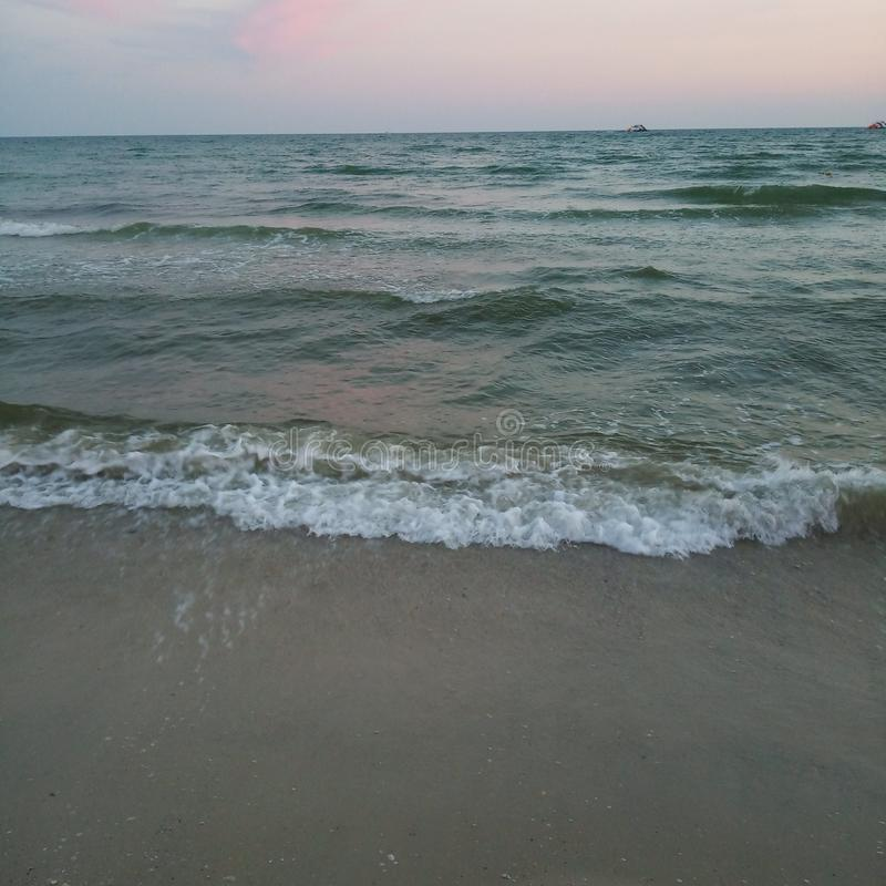 Black sea with waves. Water, sky stock images