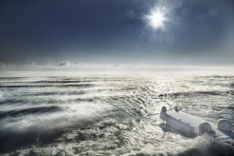 Black Sea in winter stock photography