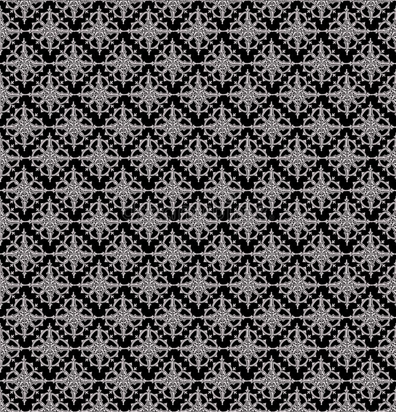 Black seamless damask Wallpaper vector illustration