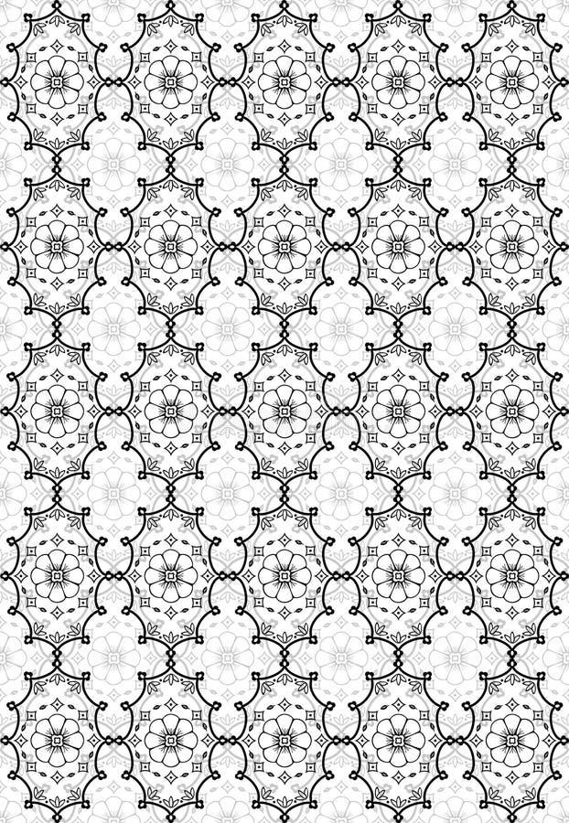 Black seamless flower damask pattern vector illustration