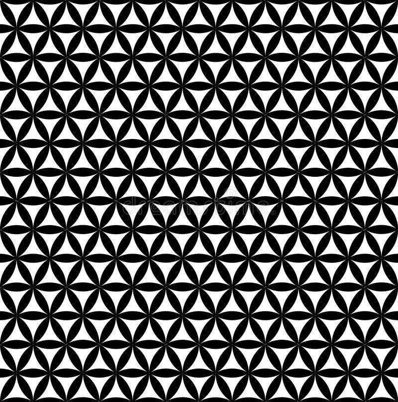 Black seamless flower of life pattern - sacred geometry background - most magical pattern on the world stock illustration