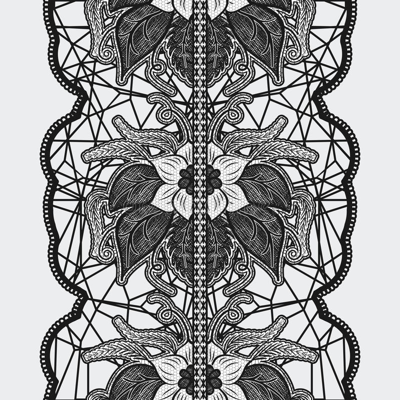 Black seamless lace ribbon on a light background. Beautiful floral pattern for design invitations and cards. stock illustration
