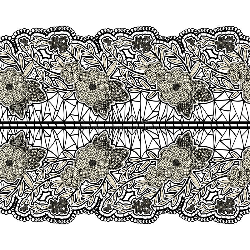 Black seamless lace wide belt on a white background. Floral horizontal pattern for design. stock illustration
