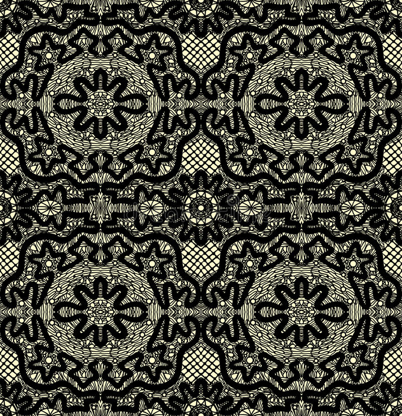Download Black Seamless Lace On A Yellow Background Stock Vector - Image: 23459677