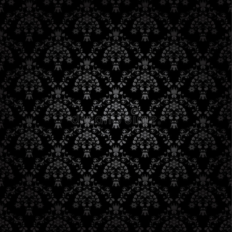 Black Flower On White Background Royalty Free Stock: Black Seamless Ornament Background