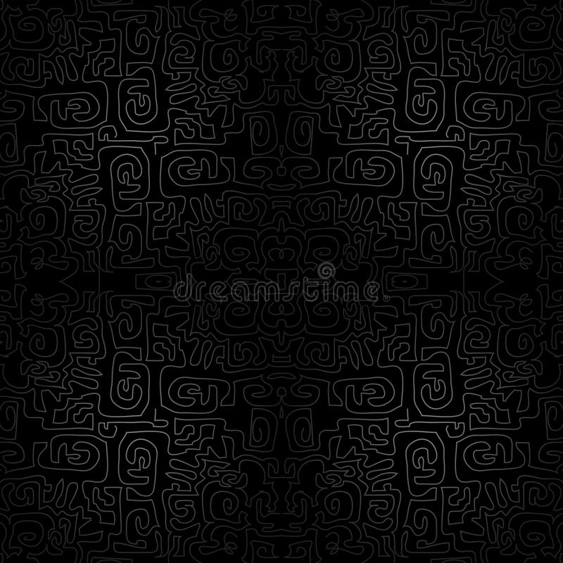 Download Black Seamless Ornament Background - Wallpaper With Modern Scrawl, Labyrinth Royalty Free Stock Images - Image: 36294979