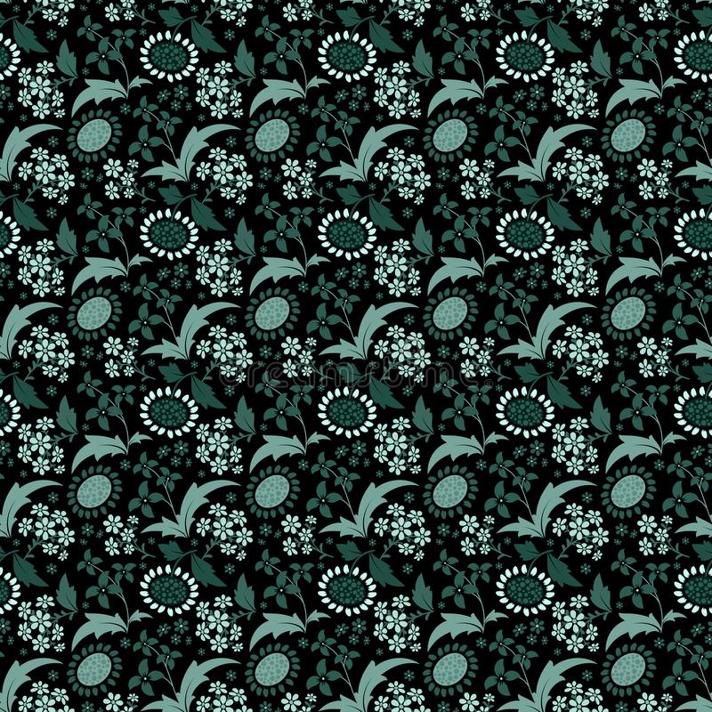 Seamless pattern with a set of stylized floral elements royalty free illustration