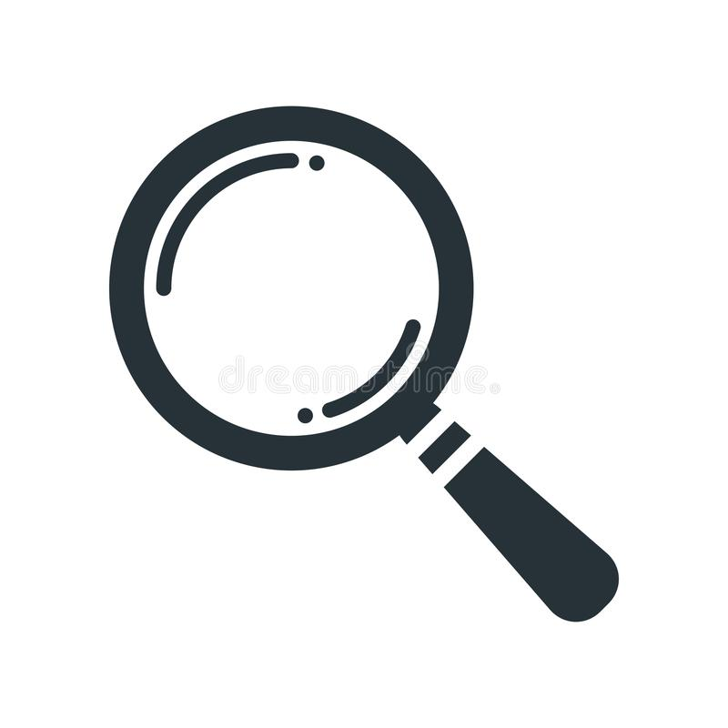 black search icon flat on white background, search icon design, royalty free illustration