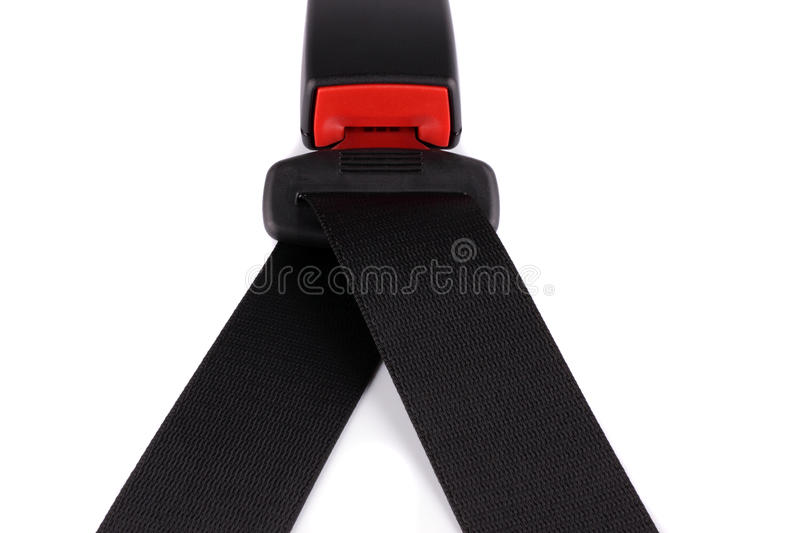Black seat belt will clasp on the lock royalty free stock images