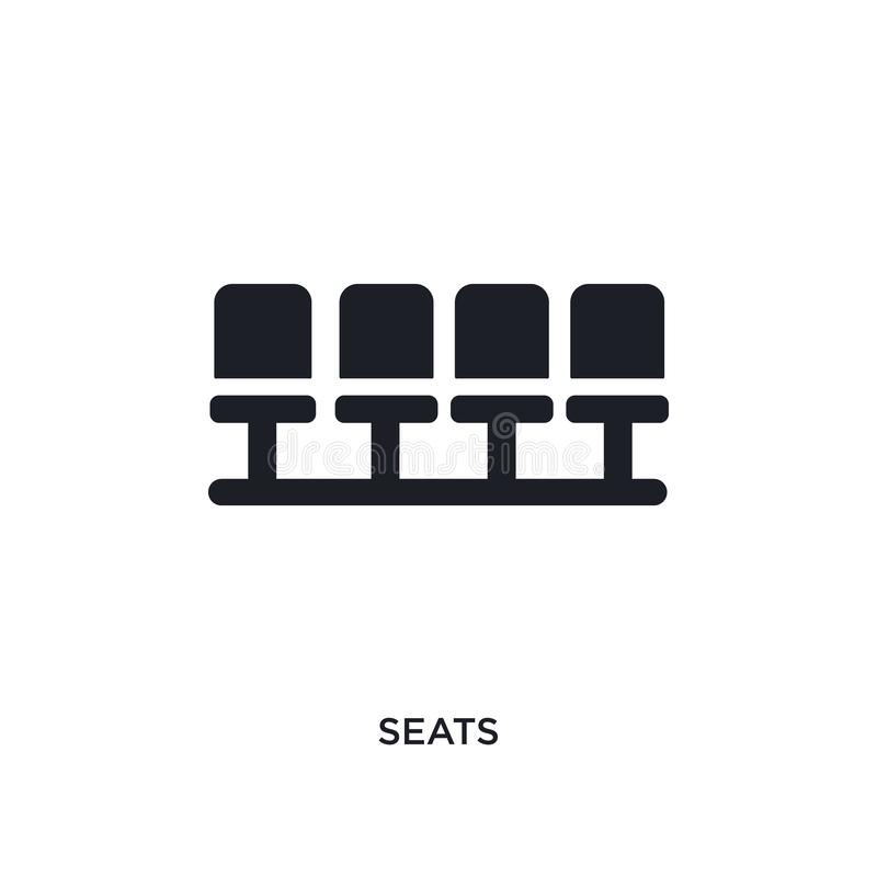 Black seats isolated vector icon. simple element illustration from football concept vector icons. seats editable black logo symbol. Design on white background royalty free illustration
