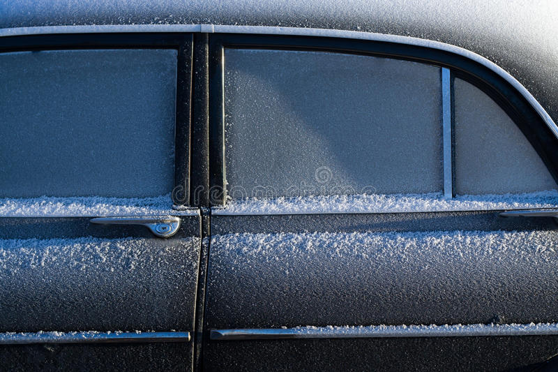 Black Sedan With Snow On The Side Of The Window Free Public Domain Cc0 Image