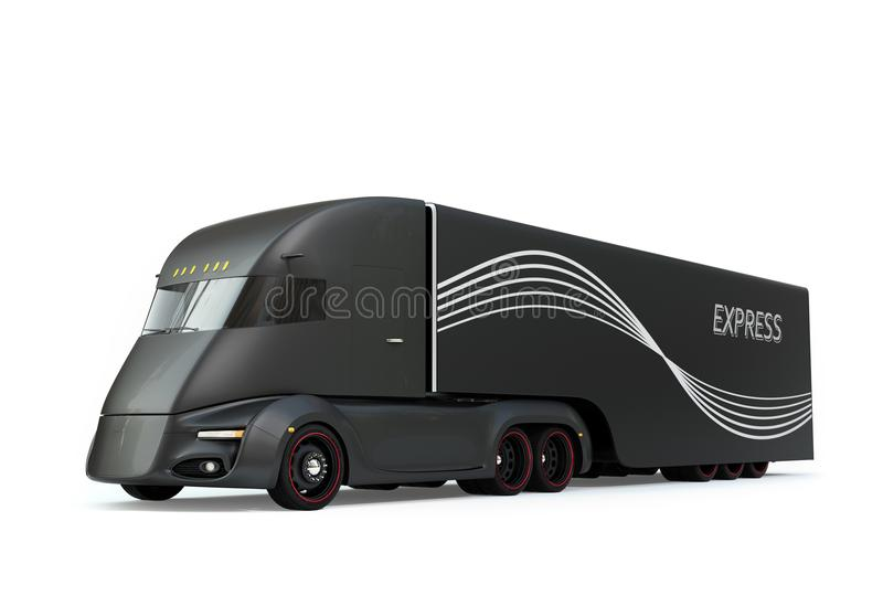 Black self-driving electric semi truck isolated on white background. 3D rendering image vector illustration