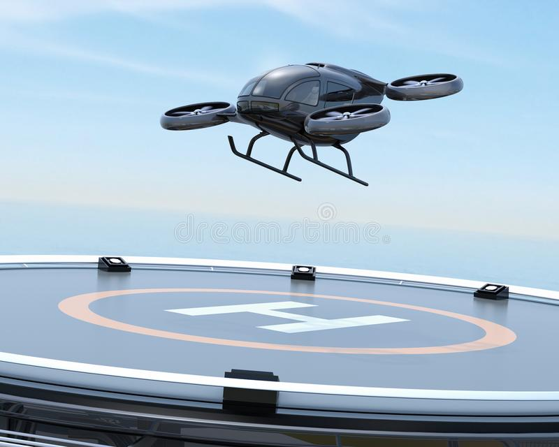 Black self-driving passenger drone takeoff from helipad. 3D rendering image stock illustration
