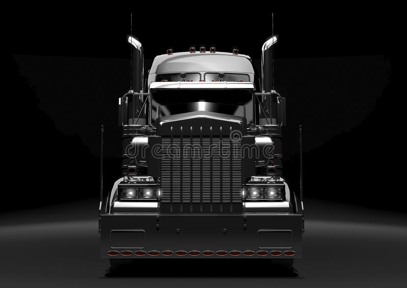 Black semi truck in the dark. Front view of a long black diesel truck in a dark background vector illustration