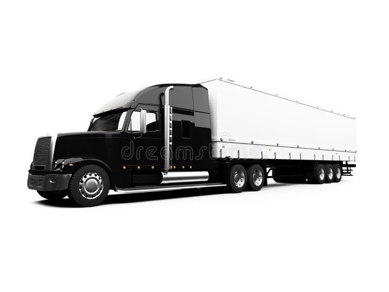 Black semi truck on white background royalty free illustration