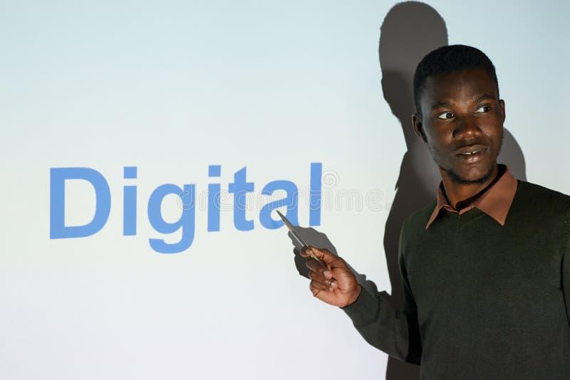 Black seo specialist presenting digital project stock photos