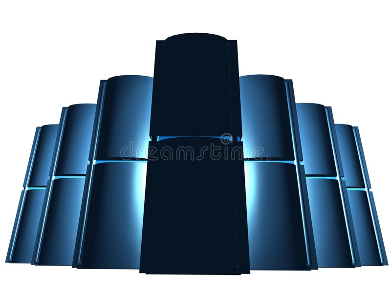 Black servers in group vector illustration