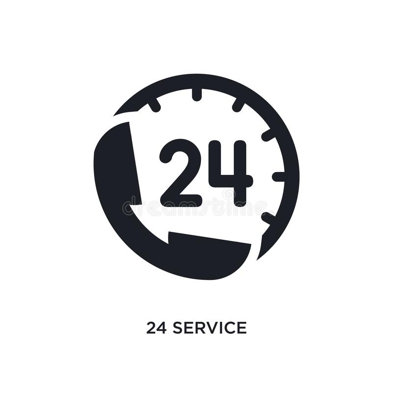 Black 24 service isolated vector icon. simple element illustration from hotel concept vector icons. 24 service editable logo. Symbol design on white background vector illustration