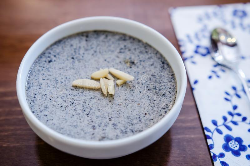 Black sesame pudding. (nameraka pudding- kurogama royalty free stock photos