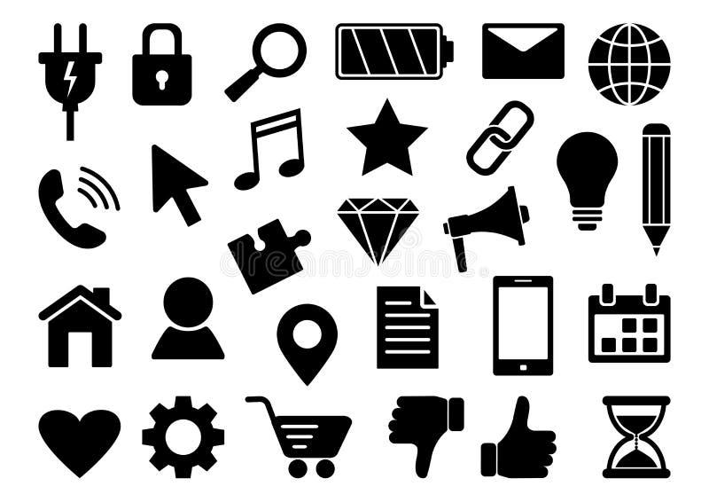 Black set of business web icons isolated on white background. Vector. Illustration royalty free illustration